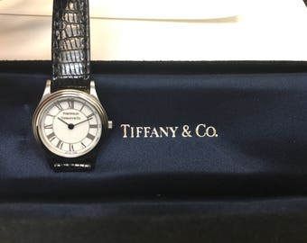 Tiffany & Co Ladies ' Portfolio ' Black Leather Watch NWOT