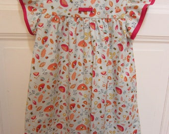 cotton pleated sleeve girl's dress