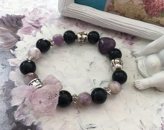 romantic Bracelet Amethyst onyx Buddhas