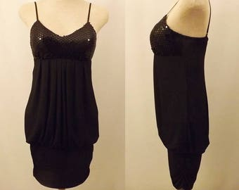 80s Ruby Rox Little Black Dress Sequin Party Dress Size 4 / 6
