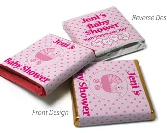 Personalised Chocolate Neapolitan squares Spotty Pink Baby Shower -  Gold/Silver & Red foils