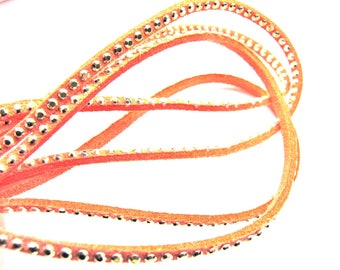 SQUARE 2MM PINK CORAL LEATHER BRAID HAS NAIL FACETED GOLD 30CM BY 30CM