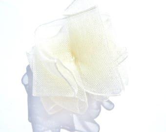 BROOCH 4 CM WHITE CRYSTAL ORGANZA FLOWER