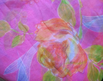 CHIFFON COUTURE PINK PRINTED FLOWER 35/110 CM
