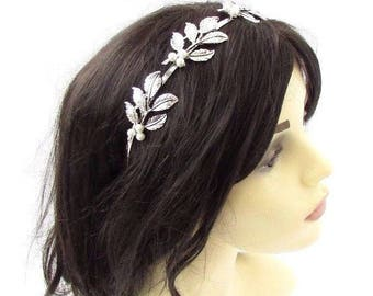 Silver White Pearl Leaf Bridal Headband Wedding Grecian Bridesmaid Hair Vtg 3610