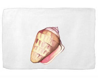 Watercolor Shell Kitchen Towel|Ocean Dish Towel|Tea Towel|Flour Sack Towel|From the Sea Towel|Whimsical gift Towel|Flour Sack Dish Cloth