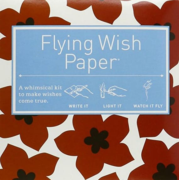 Flying Wish Paper - ruby red flower design - package of 15 wishes, make a wish