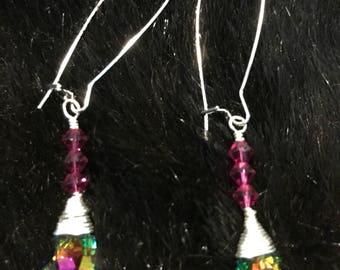 Swarovski crystal kidney wire  earrings with aurora borealis finish