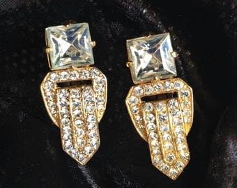 Buckle rhinestone Earrings Crystal faceted princess Square cut Vintage clip on statement gold tone sparkly  Runway dressy dangle chunky