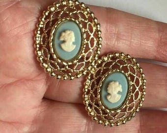 Cameo Earrings oval filigree vintage antique Gold Tone  Clip On button earrings Statement