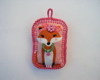 Pink Fox key chain hook and fabric
