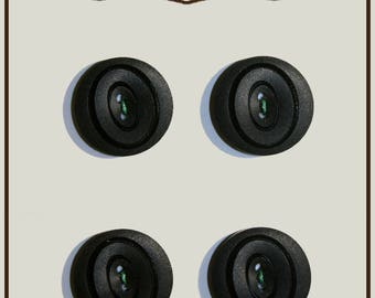 Set of 4 buttons color vintage Navy blue plastic 18 mm