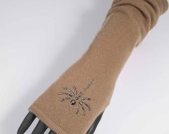 Fingerless gloves long cashmere CAMEL 100% scorpion spider rhinestone fingerless gloves gift french wife Valentine gift french designer
