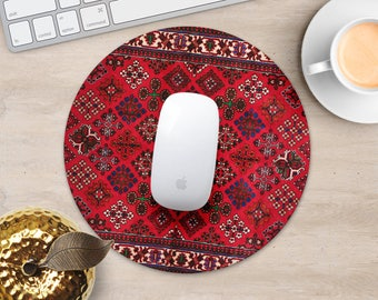 Persian Rug Mouse Pad Red Rug Mouse Mat Geometric MousePad Desk Accessories Mouse Pad Style Mouse Mat Persian Carpet Mouse Pad Coworker Gift