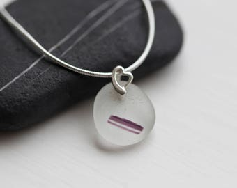 "Purple Sea Glass necklace from seaham (sterling silver findings and 16"" chain) - Perfect for someone who loves the ocean!"