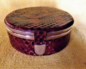 snakeskin python leather vintage 1950's jewelry box