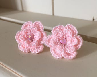 Pink Flower Earrings, Crochet Flower Earrings, Pink Earrings, flower studs, Handmade Earrings, Earrings, Pink Flower, Retro Earrings,