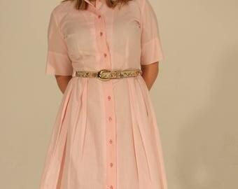 Light Pink Dress Vintage Dress Pleated Dress Summer Dress 50s Dress Medium Dress Button Down Dress Short Sleeve Dress Pastel Pink Belt Loops