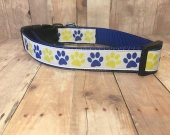 "The Clyde - Exclusive Blue & Yellow Paw Prints | Designer 1"" Width Dog Collar | CupcakePups Collars | Medium/Large Dog Collar"