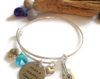 ohana bracelet, ohana means family, laser tag bangle, hibiscus flower bracelet, lilo gift, fan gift, jewellery gift,