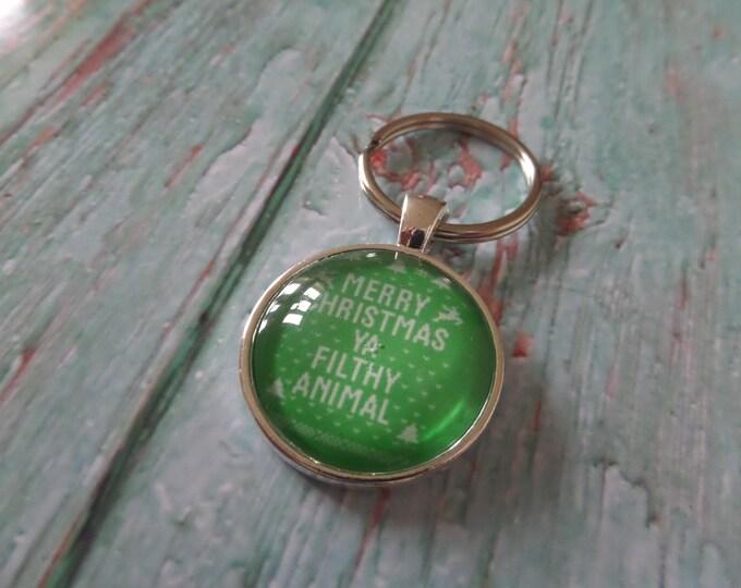 "MERRY XMAS themed "" ya filthy animal "" 25mm Glass Dome keyring KEVIN fan gift xmas stocking"