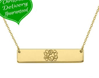 Gold monogram bar necklace 18k gold plated pendant select any initial made with 925 silver 1 Inch