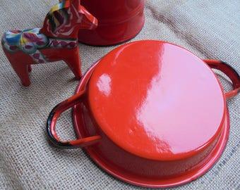 Vintage Red Enamelware Two Handled Dish/Pan Made in Poland Polish Enamelware Circa 1970s