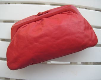 Red Leather Clutch from Italy