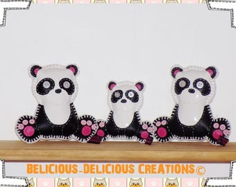 Original sets of 3 deco pillow! PANDA BEARS! FAUX leather black and white