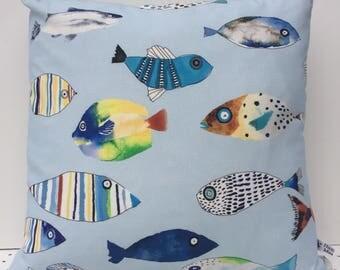 New Multi coloured Fish Cushion Cover, Sardine, Cornish, coastal, Cushions/Pillows Cover, Scandi fish, Made in Cornwall.