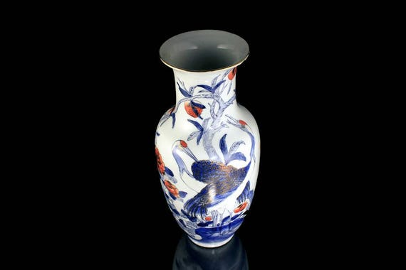 Macau Table Vase, Hand Painted, Crane and Butterfly, Blue and White, Chinese Porcelain