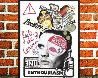 "Original collage, poster fantasy, Slogan, brain, pub and art collections, man, rock pop collage, graphic art, ""Brain flight"""