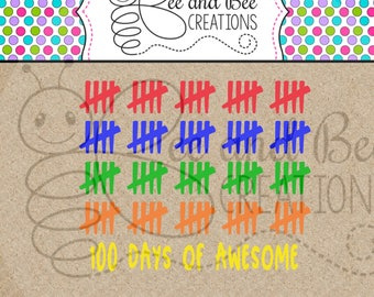 Instant Download: 100 Days of School / 100 Days of Awesome SVG & PNG