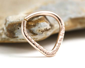 Septum ring, Textured Triangle Septum, Rose or Yellow Gold, Silver, 14, 16, 18 or 20 gauge,Tribal ,Nose ring,Septum jewelry,Chevron Piercing