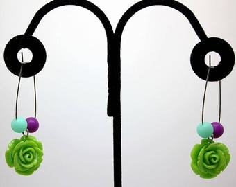 Green Rose Earring