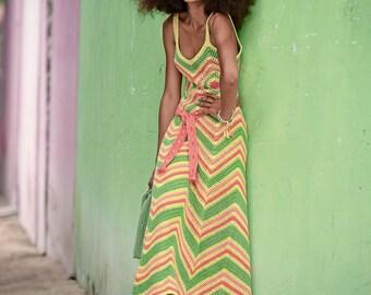 Multicolor crochet for women long dress / custom
