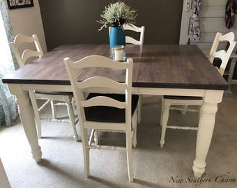 Custom Counter Height,Adjustable Farmhouse Kitchen Table & 4 Chairs