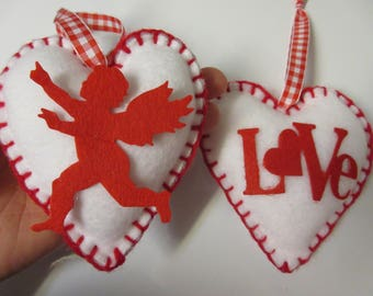 Schön Love And Cupid Heart Valentine Ornaments Valentine Fabric Ornaments  Valentine Decor Valentineu0027s Day