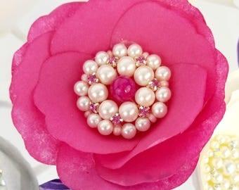 Paper Brooch Peonies, Peony cake flowers, Pearl brooch paper flowers, Home decor flowers, Wedding Flowers, Paper flower decorations