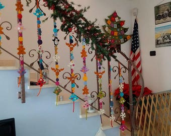 Christmas Garland - Christmas Bunting - Felt reindeer & Christmas tree garland- Gingerbread felt garland