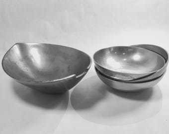 Silver Bowls Towle Silver Plated Pewter Large Bowl Three Small Bowls Dinnerware Mid Century Design