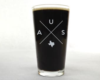 Austin Pint Glass | Austin Glass - Beer Glass - Pint Glass - Beer Glasses - Pint Glasses - Beer Mug - Austin Texas - Custom Pint