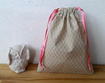 Bag pouch fabric - Golden scales - wool flower