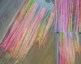 41DE colour rainbow wool dreads