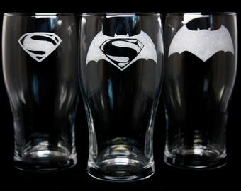 Batman Vs. Superman Pint Glasses