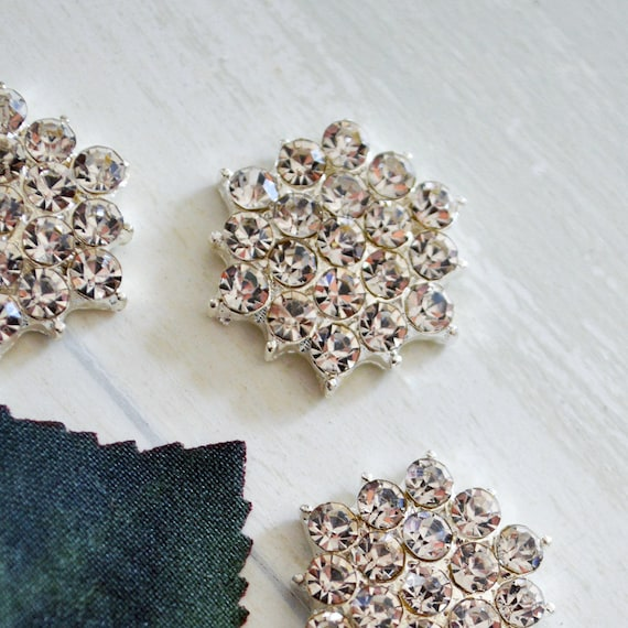 Silver Rhinestone Button for Invitations or Decoration with Clear Crystals