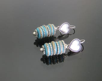 EARRINGS with the creator of ART beads, Lampwork blue with silver threads