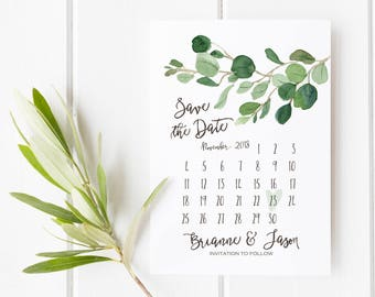 Greenery Save the Date Card, Minimalist Wedding Printable Calendar, Simple Wedding Announcement, Watercolor Eucalyptus, Classy, Modern