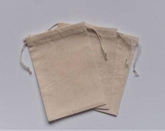 """Natural Cotton Bags * Cotton Favor Bags * Holydays Gift Wrap * Wedding Favors Bags *  Set of 25 * 4"""" x 5"""" ( 10 cm x 13 cm)"""