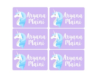 95ct Stick On Clothing Name Labels, Kids Clothing Labels, Personalized Uniform Name Labels, Baby Clothing Unicorn, Washable Clothing Labels